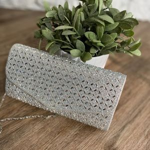 Handbags - Silver clutch with rhinestones